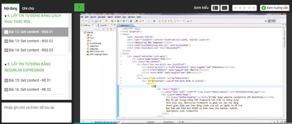 Khóa Học Lấy Tin Tự Động, Htaccess Và Làm Việc Với Ajax Trong Php KYNA IT11