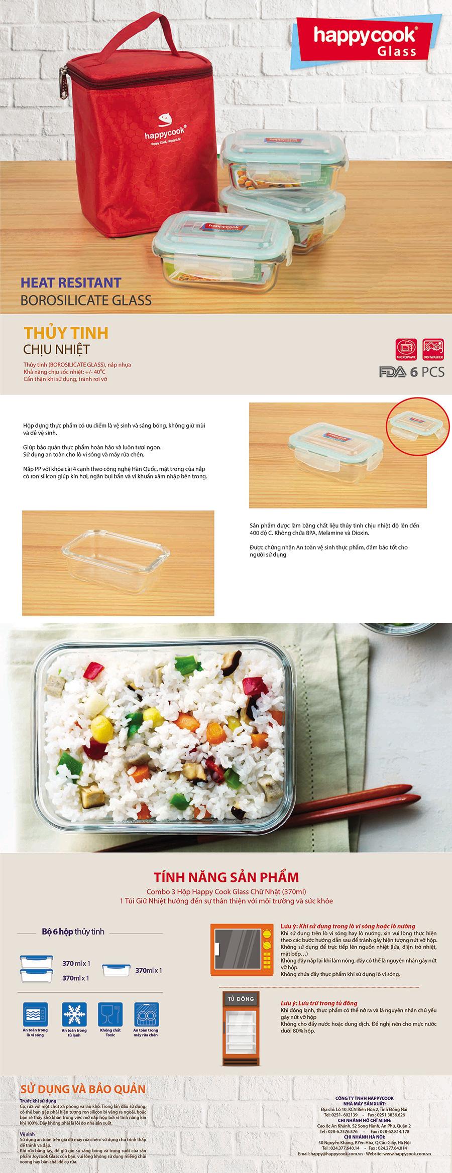 Bộ 3 Hộp Thủy Tinh Chữ Nhật Kèm Túi Giữ Nhiệt Happy Cook HCG-03R (370ml)